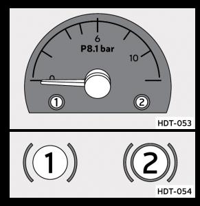 El indicador de aire muestra la presion en el sistema de frenos